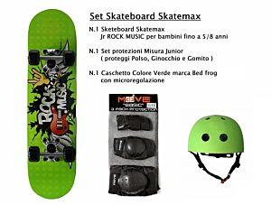 Set JUNIOR Skateboard ROCK MUSIC Skatemax + Caschetto + Protezioni