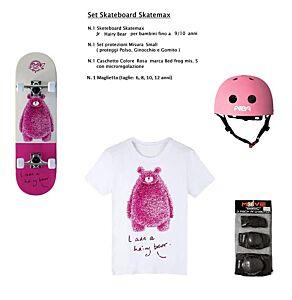 Set Skateboard mis. Junior HAIRY BEAR + Caschetto + Protezioni + Maglietta