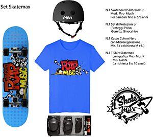 Set JUNIOR Skateboard RAP MUSIC Skatemax + Caschetto + Protezioni + Maglietta