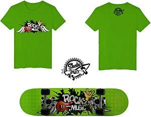 Set JUNIOR Skateboard ROCK MUSIC Skatemax + Maglietta