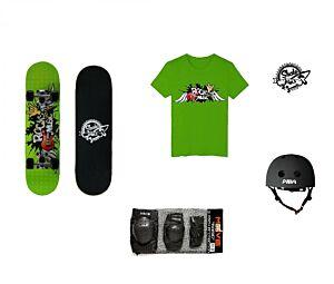 Set JUNIOR Skateboard ROCK MUSIC + Caschetto + Protezioni + Maglietta, Skatemax