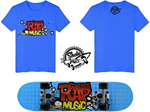 Set JUNIOR Skateboard RAP MUSIC Skatemax + Maglietta