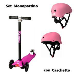 SET BABY: MONOPATTINO ROSA, 3 RUOTE, CON CASCO ROSA