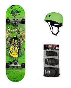 SET skateboard URBAN CULTURE + protezioni + caschetto, Skatemax