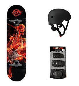 SET skateboard SKULL MUSIC + protezioni + caschetto, Skatemax, SKM3105-set